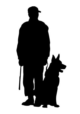 Illustration pour Vector silhouette  Dog Trainer - image libre de droit
