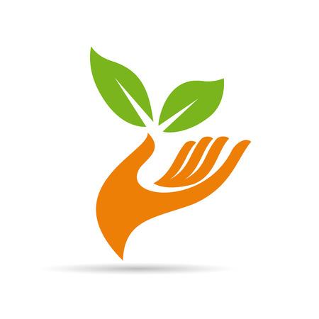 Ilustración de Vector sign friendly environment, hand and leaf - Imagen libre de derechos