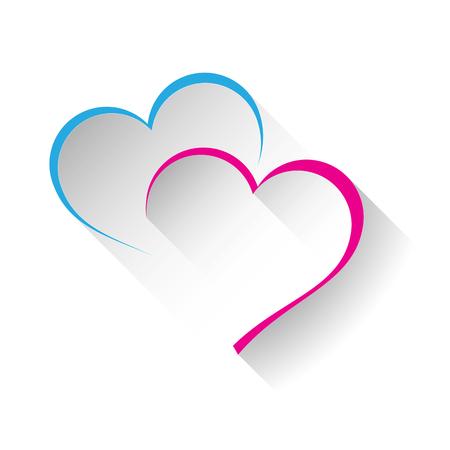 Illustrazione per Vector sign two hearts - Immagini Royalty Free