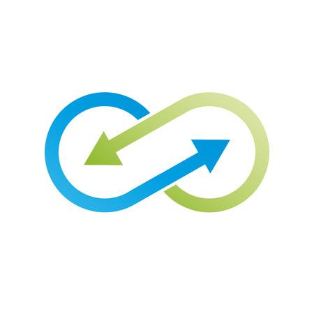 Ilustración de Vector sign infinite with arrows. Green recycling - Imagen libre de derechos