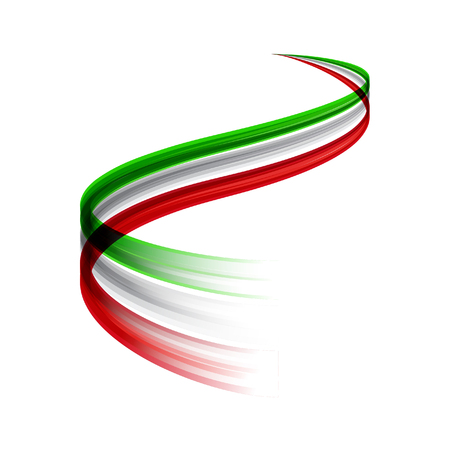 Illustration for Abstract vector wake moving, dynamic italian flag concept - Royalty Free Image