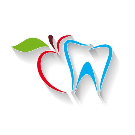 Illustration pour Vector sign dentist. Bite the apple - image libre de droit