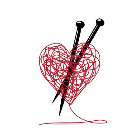 Ilustración de Vector sign ball of yarn, heart shaped. knitting tools. making love concept - Imagen libre de derechos