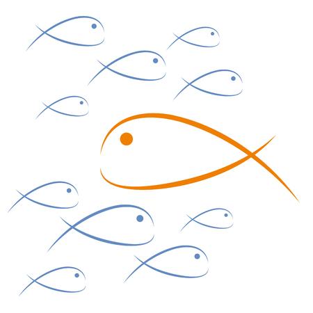 Illustration pour Fish countercurrent. Vector illustration concept challenge abd freedom - image libre de droit