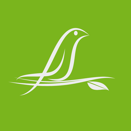 vector abstract bird on branch