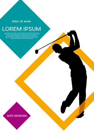 Ilustración de Golf club competition tournament, with squares background. Vertical vector poster with man playing game on green  - Imagen libre de derechos