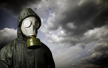 Photo for Gas mask and dramatic sky. Survival concept. - Royalty Free Image