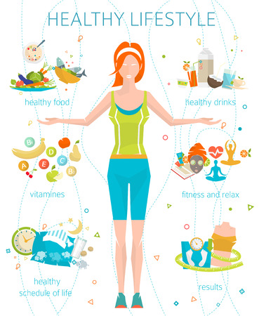 Foto de Concept of healthy lifestyle / young woman with her good habits / fitness, healthy food, metrics / vector illustration / flat style - Imagen libre de derechos