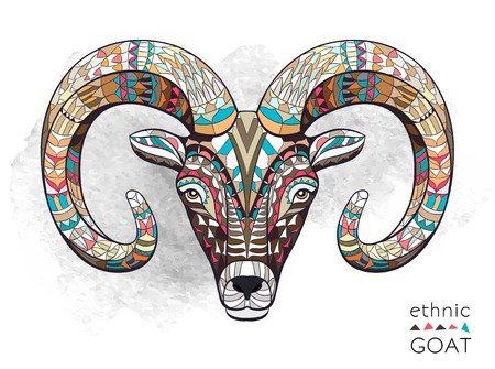 Illustration for Patterned head of goat on the grunge background. African indian totem tattoo design. It may be used for design of a t-shirt, bag, postcard, a poster and so on. - Royalty Free Image