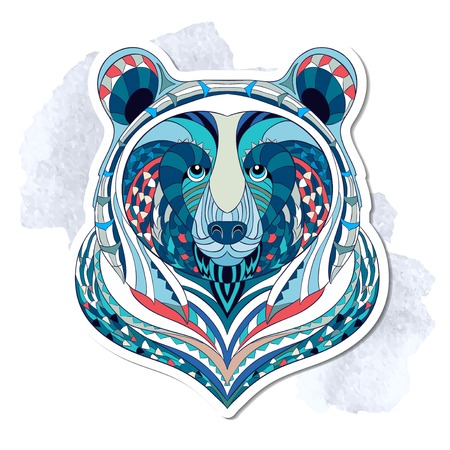 Illustration pour Patterned head of bear on the grunge background. African indian totem tattoo design. It may be used for design of a t-shirt, bag, postcard, a poster and so on. - image libre de droit