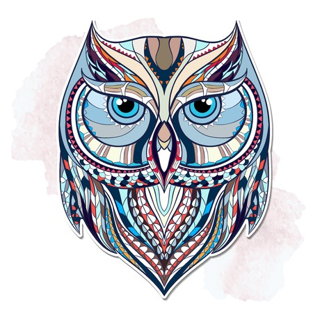 Photo for Patterned owl on the grunge background. African indian totem tattoo design. It may be used for design of a t-shirt, bag, postcard, a poster and so on. - Royalty Free Image