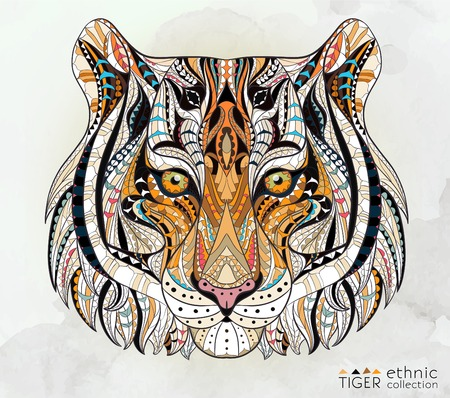 Illustration pour Patterned head of the tiger on the grunge background. African indian totem tattoo design. It may be used for design of a t-shirt, bag, postcard, a poster and so on. - image libre de droit