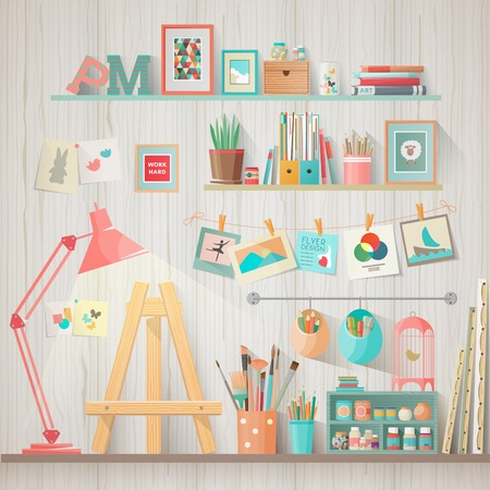 Illustration pour Work place of designer-illustrator and artist with drawing easel and many other artistic materials. Art-working process.  Flat design vector illustration - image libre de droit