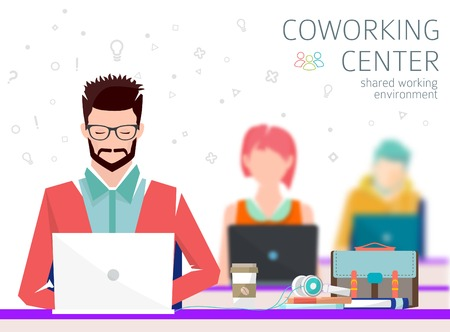 Ilustración de Concept of the coworking center. Shared working environment. People talking and working  at the computers in the open space office. Flat design style. - Imagen libre de derechos