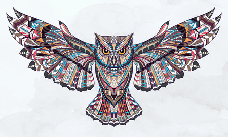 Illustration for Patterned owl on the grunge watercolor background. African / indian / totem / tattoo design. It may be used for design of a t-shirt, bag, postcard, a poster and so on. - Royalty Free Image