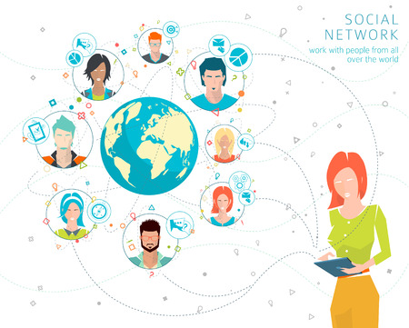 Illustration pour Global business concept. Communication in the global networks. Multitasking in business. Long-distance administration and management. Concept of social media network.  Vector illustration. - image libre de droit