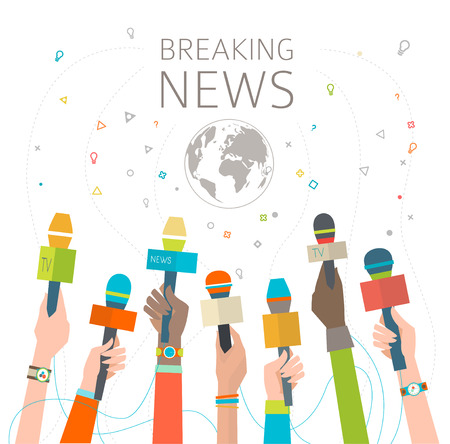 Illustration pour Concept of breaking news / hot news /  multicultural hands and microphone / vector illustration - image libre de droit