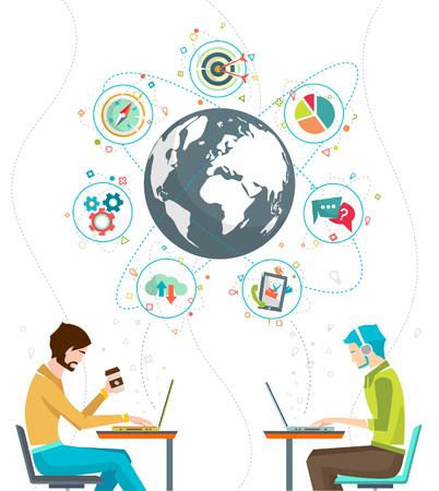 Ilustración de Global business concept. Communication in the global networks. Multitasking in business. Long-distance administration and management. Concept of social media network.  Vector illustration. - Imagen libre de derechos