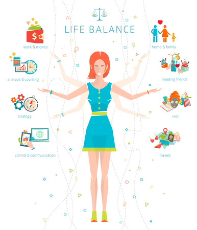 Illustration pour Concept of work and life balance / dividing of human energy between important life spheres / Vector illustration. - image libre de droit