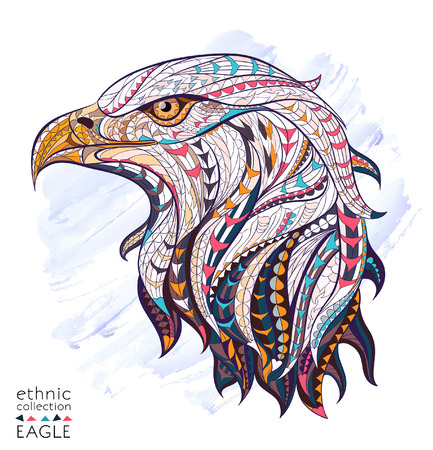 Illustration for Patterned head of eagle on the watercolor background. African / indian / totem / tattoo design. It may be used for design of a t-shirt, bag, postcard, a poster and so on. - Royalty Free Image