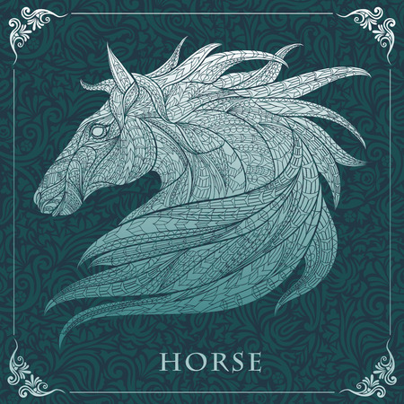 Illustration pour Patterned head of the horse  on the floral background. African / indian / totem / tattoo design. It may be used for design of a t-shirt, bag, postcard, a poster and so on. - image libre de droit