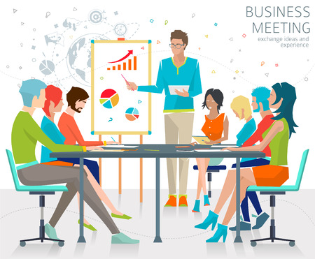 Ilustración de Concept of business meeting / exchange ideas and experience / coworking people / collaboration and discussion / vector illustration - Imagen libre de derechos