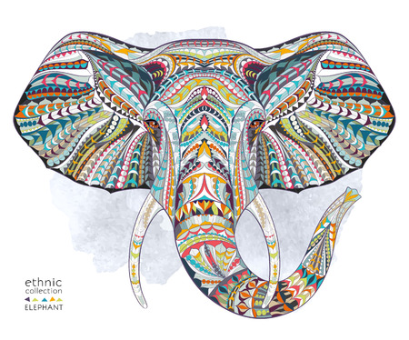 Illustration for Ethnic patterned head of elephant on the grange background/ african / indian / totem / tattoo design. Use for print, posters, t-shirts. - Royalty Free Image