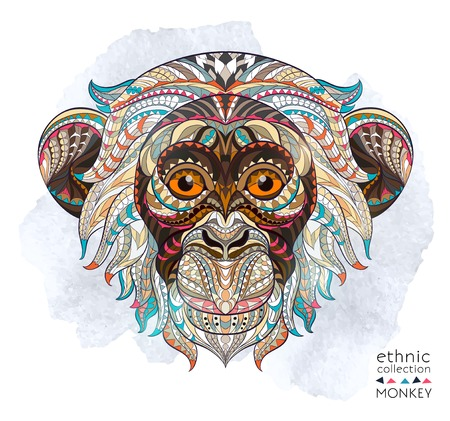 Illustration pour Patterned head of the monkey on the grunge background. African / indian / totem / tattoo design. It may be used for design of a t-shirt, bag, postcard, a poster and so on. - image libre de droit