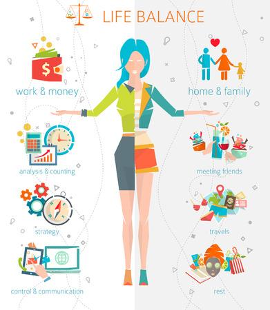 Ilustración de Concept of work and life balance / dividing of human energy between important life spheres / Vector illustration. - Imagen libre de derechos