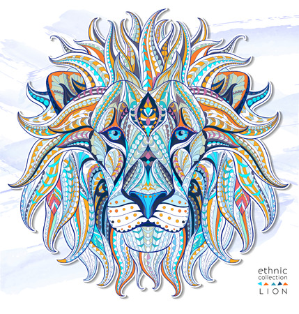 Illustration for Patterned head of the lion on the grunge background. African / indian / totem / tattoo design. It may be used for design of a t-shirt, bag, postcard, a poster and so on. - Royalty Free Image