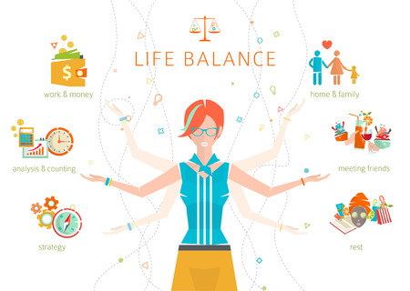 Ilustración de Concept of work and life balance / dividing of human energy between important life spheres / Vector illustration. - Imagen libre de derechos