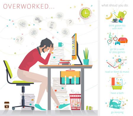 Illustration pour Concept of overworked man. Man has burned out on his workplace because of many tasks and deadlines. Tips what to do in oder to recover strength. Flat vector illustration. - image libre de droit