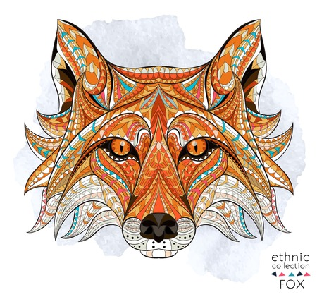 Foto de Patterned head of the red fox on the grunge background. African / indian / totem / tattoo design. It may be used for design of a t-shirt, bag, postcard, a poster and so on. - Imagen libre de derechos