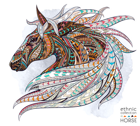 Illustration pour Patterned head of the horse on the grunge background. African / indian / totem / tattoo design. It may be used for design of a t-shirt, bag, postcard, a poster and so on. - image libre de droit