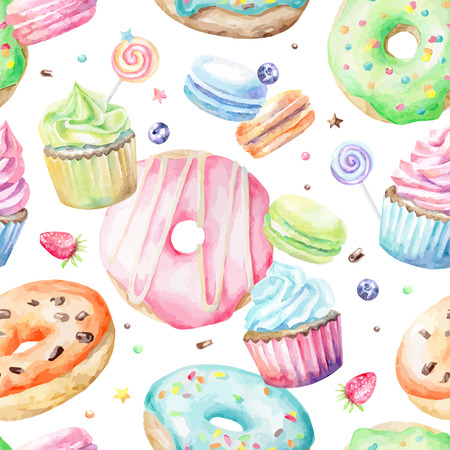 Illustration pour Sweet delicious watercolor pattern with macarons, cupcakes, donuts. Hand-drawn background. Vector illustration. - image libre de droit