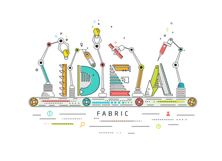 Illustration pour Concept of creating and building idea / Robotic production line / manufacturing and machine / typography - image libre de droit