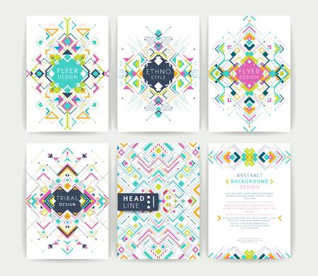Photo pour Set of geometric abstract colorful flyers / brochure templates / design elements / modern backgrounds / line art - image libre de droit