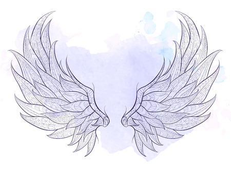 Illustration for Patterned wings on the grunge background. African / indian / totem / tattoo design. It may be used for design of a t-shirt, bag, postcard, a poster and so on. - Royalty Free Image