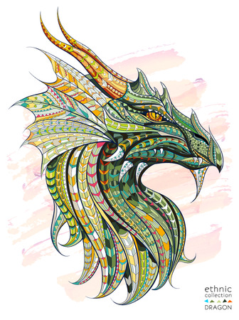 Ilustración de Patterned head of the dragon on the grunge background. African / indian / totem / tattoo design. It may be used for design of a t-shirt, bag, postcard, a poster and so on. - Imagen libre de derechos