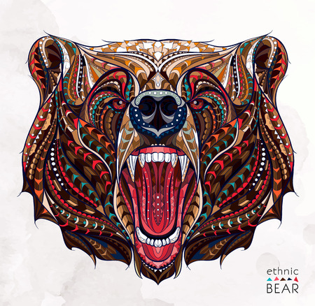 Illustration pour Patterned head of the growling bear on the grunge background. African / indian / totem / tattoo design. It may be used for design of a t-shirt, bag, postcard, a poster and so on. - image libre de droit