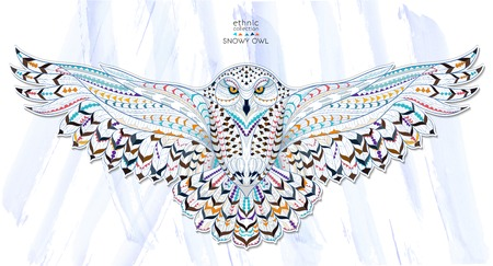 Ilustración de Patterned snowy owl on the grunge background. Indian / totem / tattoo design. It may be used for design of a t-shirt, bag, postcard, a poster and so on. - Imagen libre de derechos