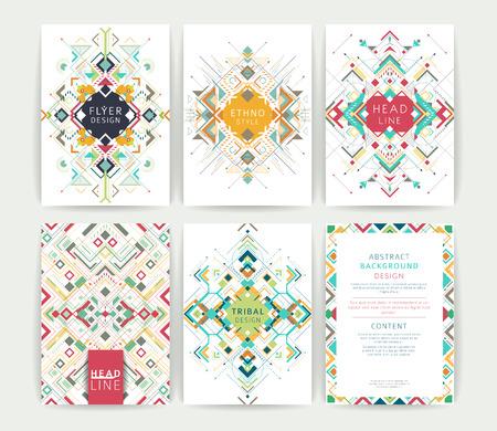 Illustration pour Set of geometric abstract colorful flyers / brochure templates / design elements / modern backgrounds / line art - image libre de droit