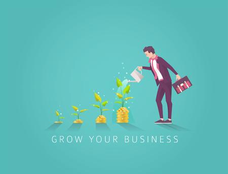 Ilustración de Business concept of investment in money tree in four step. Start up and growth of business. Businessman watering money tree. Vector flat illustration. - Imagen libre de derechos
