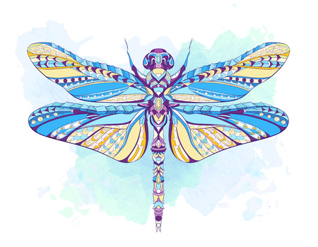 Ilustración de Patterned dragonfly on the grunge background. African, indian, totem, tattoo design. It may be used for design of a t-shirt, bag, postcard, a poster and so on. - Imagen libre de derechos