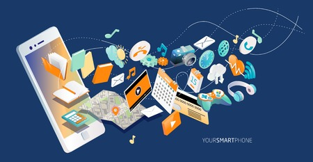 Illustration pour Isometric concept of smartphone with different applications, on-line services and stationary options. - image libre de droit