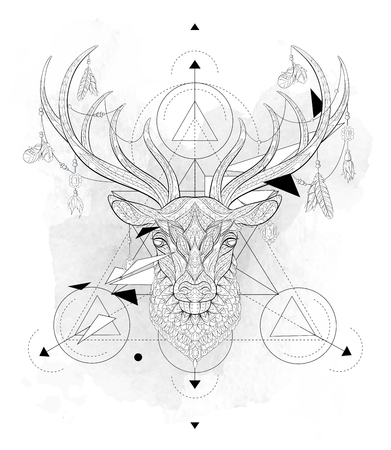 Illustration pour Patterned head of the deer  with geometry on the grunge background. African, indian, totem, tattoo design. It may be used for design of a t-shirt, bag, postcard, a poster and so on. - image libre de droit
