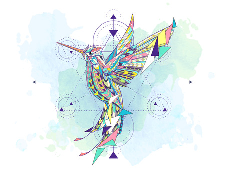 Illustrazione per Patterned hummingbird with geometry on the grunge background. African, indian, totem, tattoo design. It may be used for design of a t-shirt, bag, postcard, a poster and so on. - Immagini Royalty Free