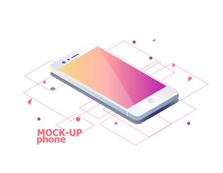 Illustration pour Mock up mobile phone. Isometric illustration. - image libre de droit