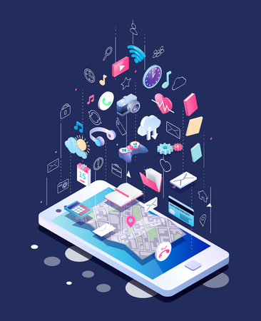 Ilustración de Isometric concept of smartphone with different applications, on-line services and stationary options. - Imagen libre de derechos
