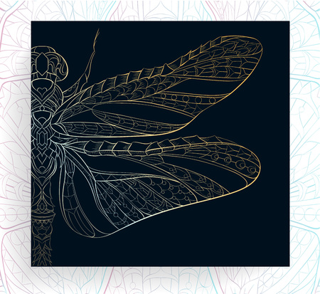 Ilustración de Patterned golden dragonfly. African, indian, totem, tattoo design. It may be used for design of a t-shirt, bag, postcard, a poster and so on. - Imagen libre de derechos